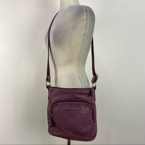 Fossil Purple Leather Multi Pocket Crossbody Bag